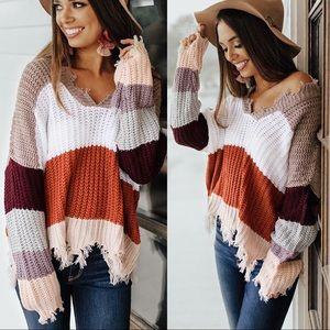 Sweaters - NEW! Rust Colorblock V-Neck Frayed Sweater Cozy